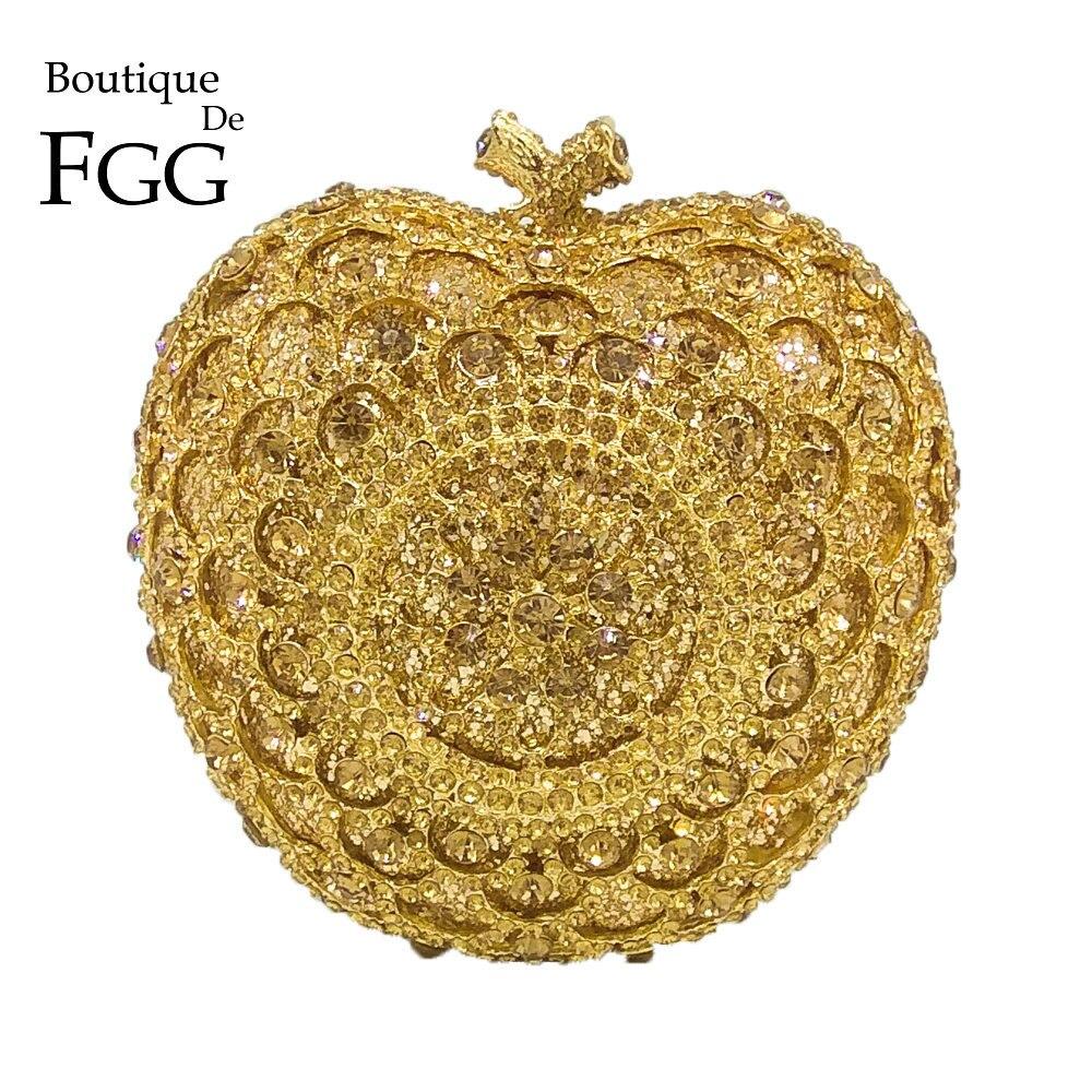Boutique De FGG belle 3D pomme forme femmes cristal soirée pochettes De mariage mariée diamant sacs à main dames sacs à main De fête