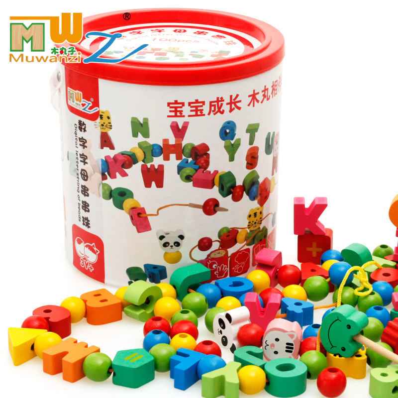 Children Bead Toy With Numbers Lettered City Traffic Barrel CHILDREN'S Beaded Bracelet Threading Educational Wood System Toy