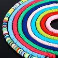 Плоские круглые бусины STENYA 6 мм из полимерной глины, диск с кристаллами, виниловые сережки-распорки, ожерелье, браслет, ювелирные изделия, бр...