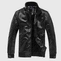 Мужские кожаные куртки, Мужская мотоциклетная кожаная куртка, мужские пальто со стоячим воротником, Высококачественная однотонная Повседн...
