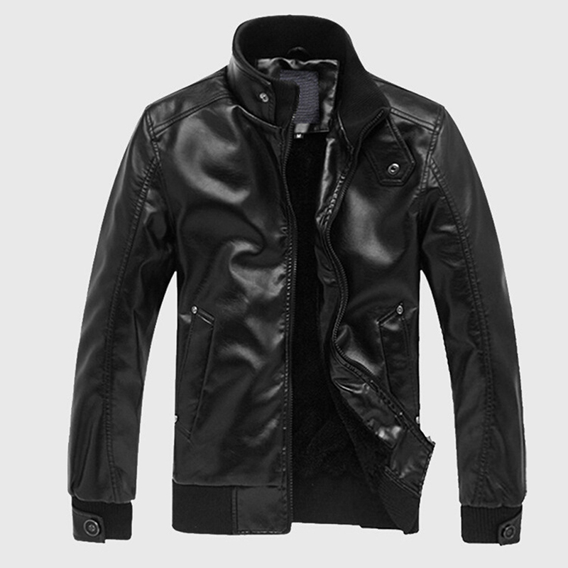 Men Leather Jackets Mens Motorcycle Leather Jacket Men Stand Collar Coats High Quality Soild Casual Slim Brand Clothing