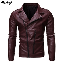 MarKyi 2020 spring fashion zipper mens jackets and coats leather plus size long sleeve motorcycle jacket slim fit