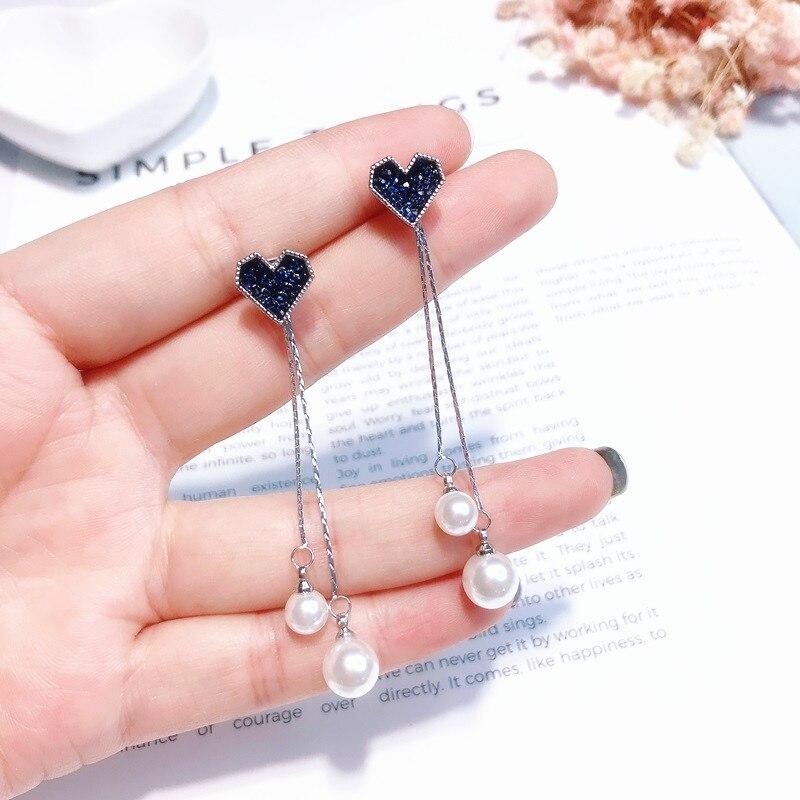 Korean Pearl Blue Crystal Love Heart Tassel Long Drop Earrings for Women Fashion Drop Earring Charm Luxury Jewelry Pendientes