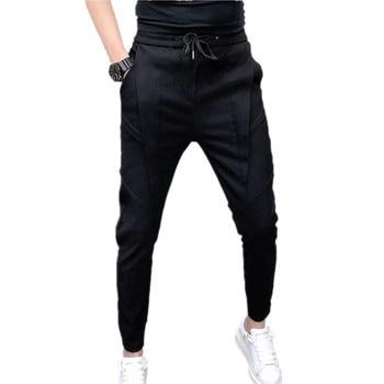 Fashion Mens Casual Pants Black Blue Summer Ankle Length Pants Men Sizes 28-36 Teen Drawstring Trousers
