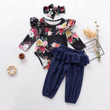 Autumn Baby Girl Clothes Set Newborn Ruffled Floral Rompers + Pants + Headband 3pcs Outfits Set Infant Baby Girls Clothing Suit(China)