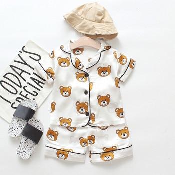 Children's Pajamas Set Baby Boy Girl Clothes Summer Sleepwear Set Kids Cartoon Printed Tops+Shorts Toddler Clothing Sets 2