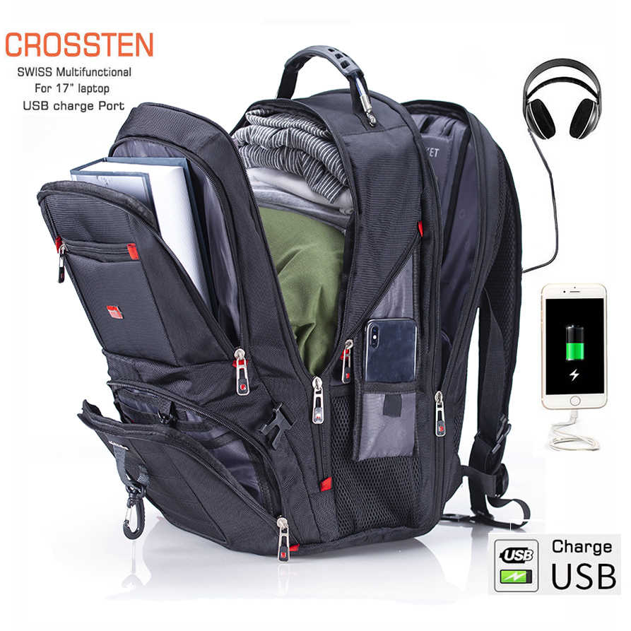 "Crossten Swiss Multifungsi 17.3 ""Laptop Sleeve Case Tas Tahan Air USB Charge Port Sekolahnya Tas Travel Hiking"