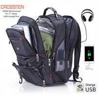 """Crossten suisse multifonctionnel 17.3 """"sac à dos pour ordinateur portable housse sac étanche USB Port de Charge cartable randonnée sac de voyage"""