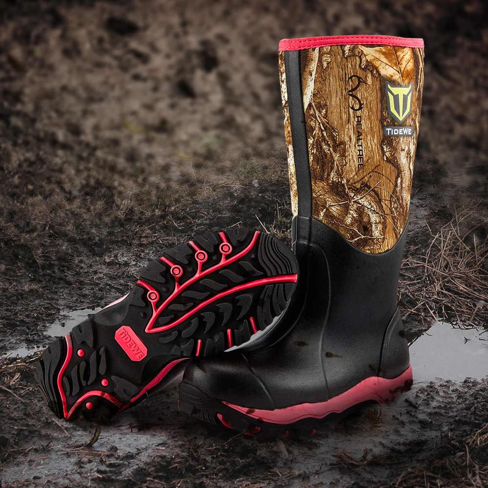 TideWe pembe yalıtımlı su geçirmez dayanıklı 38cm kadın avcılık botları Realtree kenar Camo 6mm neopren ve kauçuk açık çizmeler