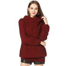Women's Casual Turtleneck Pullover Knit Sweater White Pink Gray Black Wine Red Women's Slash Neck Long Mid-length Sweater(China)