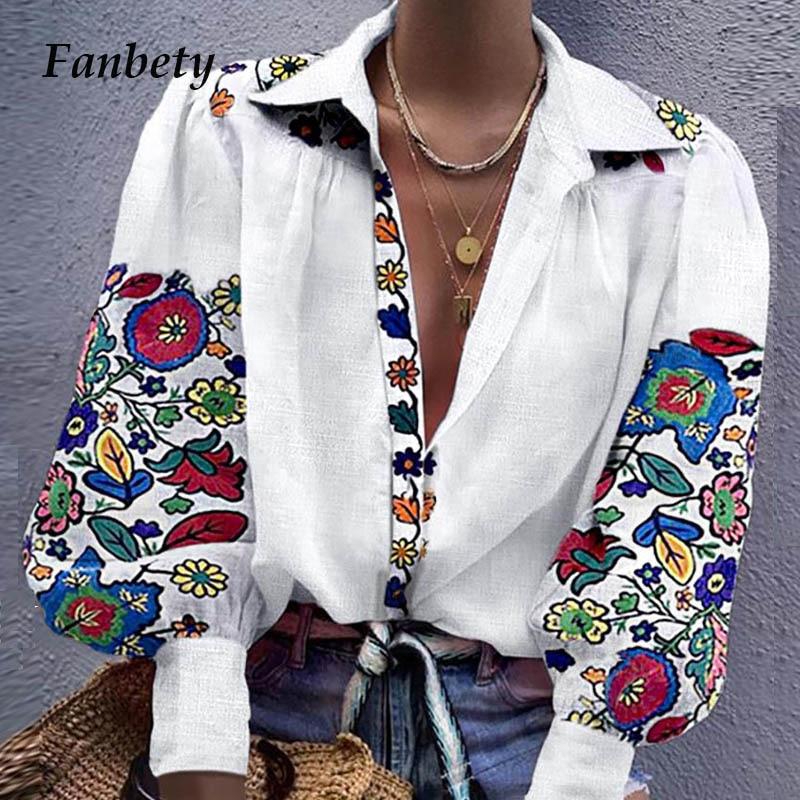 Fanbety 2019 Autumn Notched Collar   Blouse     shirts   women lantern long sleeve button blusa tops Elegant sexy office work   blouses