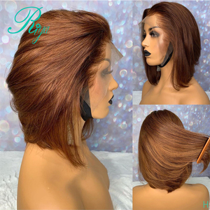 13X6 150% Honey Blonde Ginger Ombre Color Short Straight Bob Cut Blunt Pixie Lace Front Human Hair Wigs For Women Brazilian Remy(China)