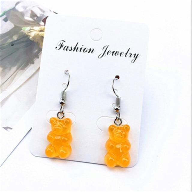 Colourful gummy bear sweet handmade resin drop dangle earrings handmade and silver plated