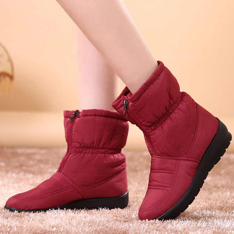 Mùa đông Chống Nước Ủng Nữ Giữa Bắp Chân Nền Tảng Xuống Giày Plus Size 35-41 Ấm Giày Nữ Giày Nữ botas
