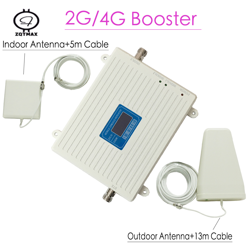 High Gain Lcd Display Dual Band Gsm Dcs Cellphone Booster With Panel Antenna Mobile Phone Repeater 1800 900 For Home Amplifier