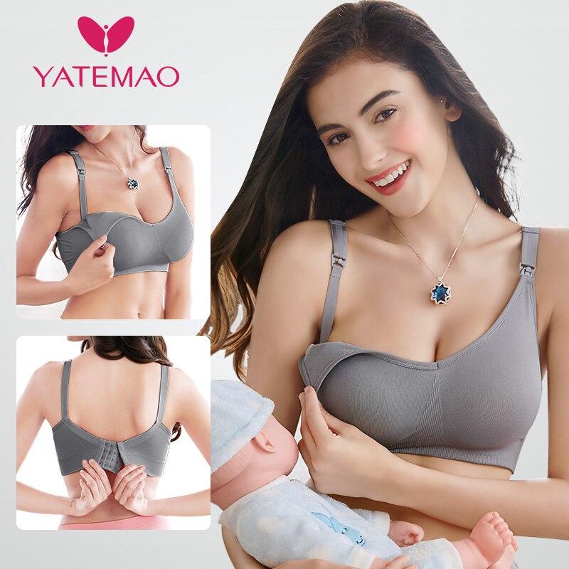 YATEMAO Hot Sale Maternity Nursing Bra Breast Feeding Bra Sleep Bras For Pregnant Women Soutien Gorge Allaitement Soft Comforty