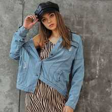 Womens Denim Long Sleeve Button Bomber Jacket Casual Coat Outwear Hot selling Fashion casual Y830