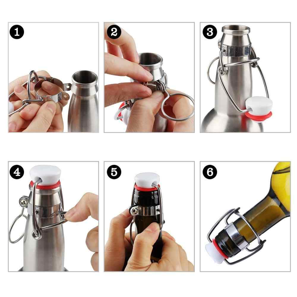 Gaetooely 12Pcs Cap Flip Top Stopper Root Beer Bottles Replacement Swing Tops Home Brew Brewing Wine Stoppers Beer Bottles Replacement Swing Cap
