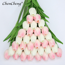Купить с кэшбэком CHENCHENG 31 Pieces / Lot PU Artificial Tulip Flower Real Touch Silk Wedding Flower Bouquet for Home Fall Decoration Party