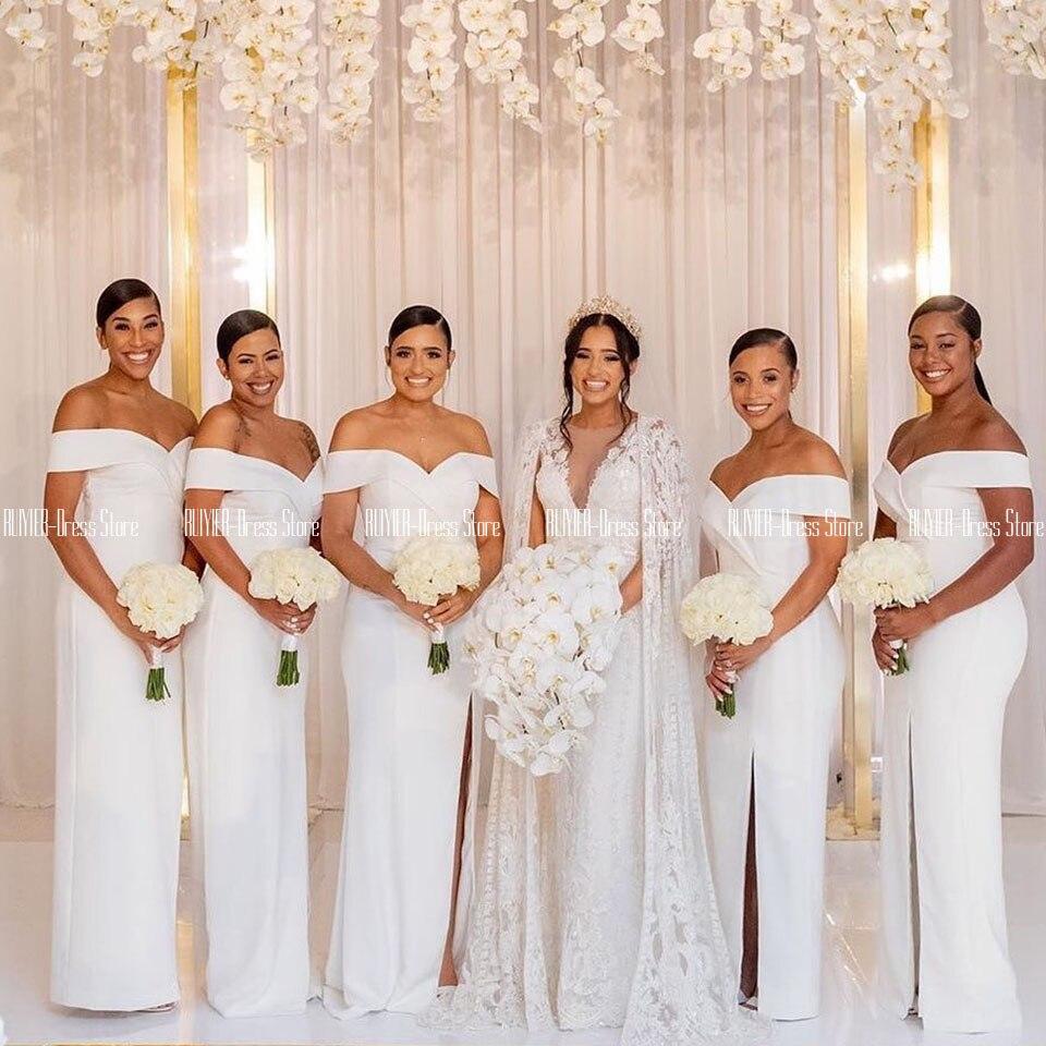 Robes Bridemaid blanc pas cher côté fendu