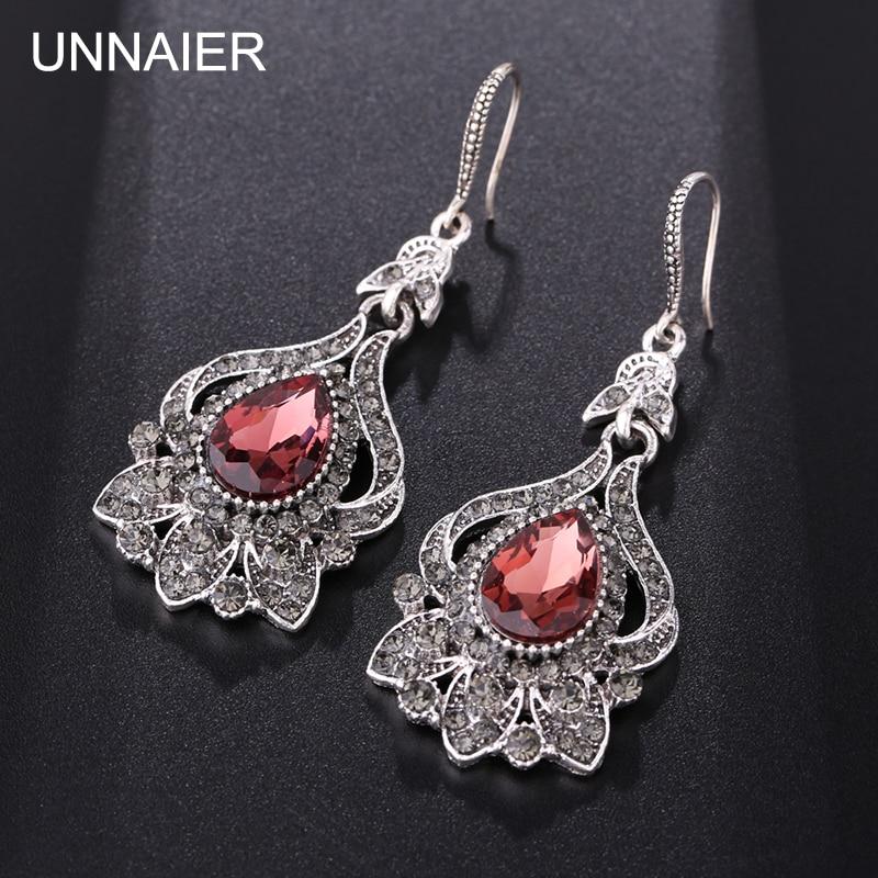 UNNAIER 2021 новые женские винно-красные полудрагоценные камни свадебные серьги капля воды Подвесные серьги ретро ювелирные изделия