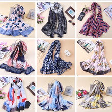 2019 Luxury Brand Summer women scarf print shawls and wrap long female pashmina ladies stoles silk scarves bandana head hijab(China)