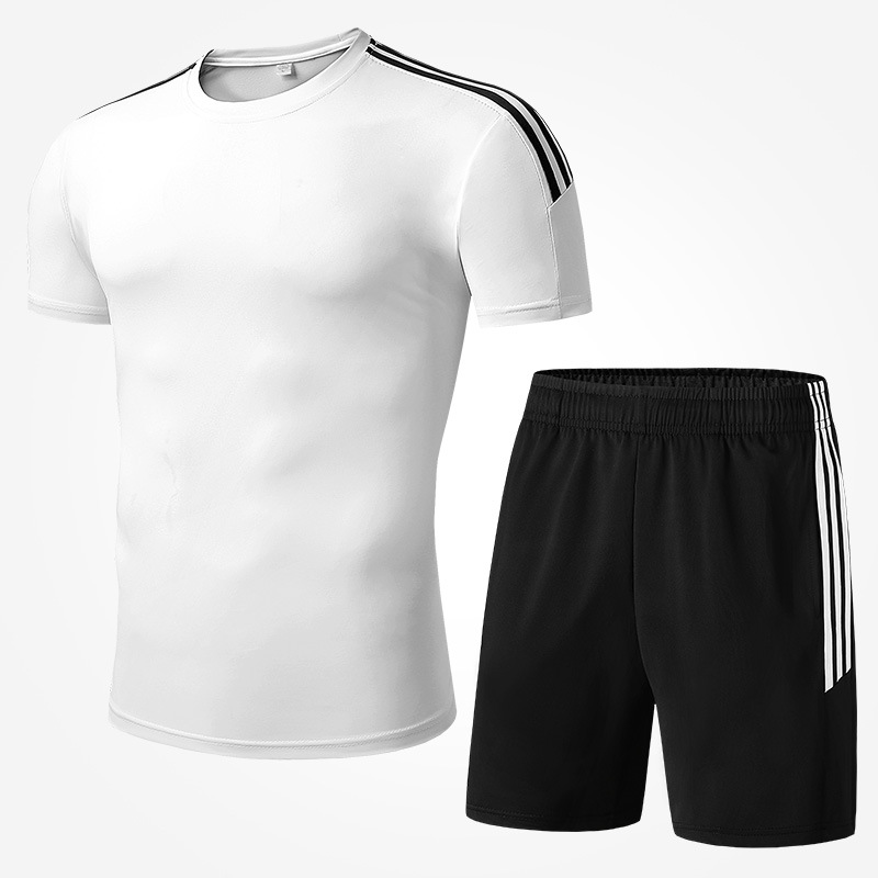 2019 Summer New Style Quick-Dry Running Sports Men Short Sleeve Shorts Set Gym Training Suit 2 Pieces