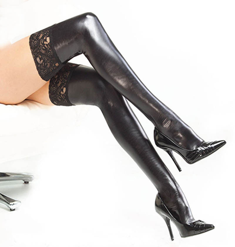 KLV Fashion Women Lady Black Stockings Elastic Thigh High Stockings With Lace Spandex Latex Rubber Stockings