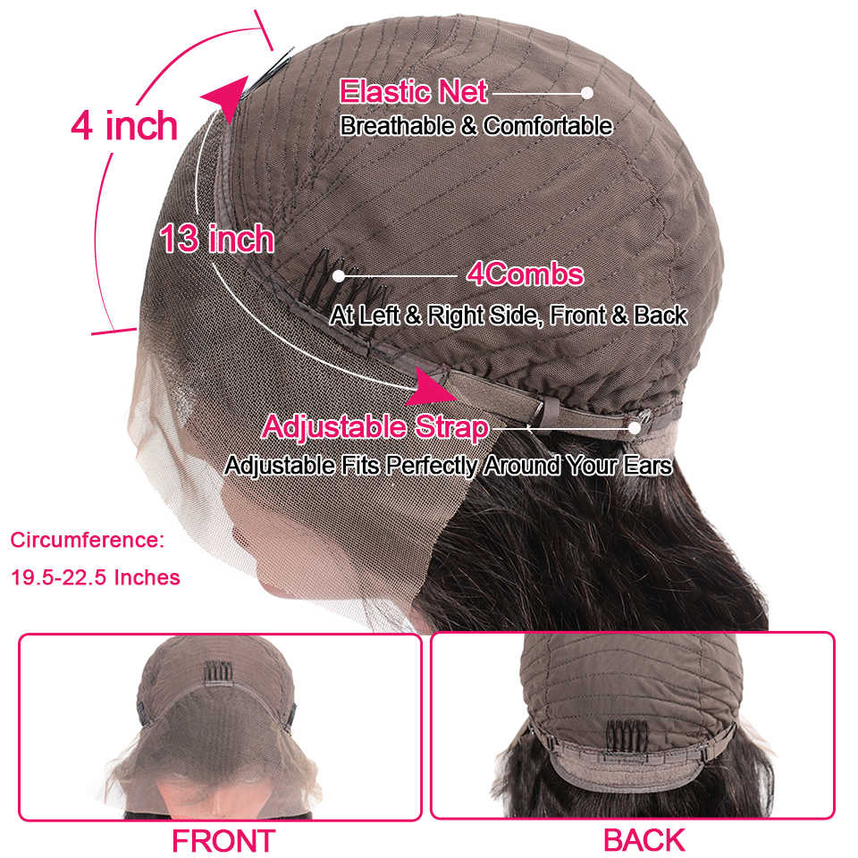 Vanlov Saç 13X4 Su Dalga Peruk Dantel Ön İnsan Saç Peruk 8-26 Kısa Brezilyalı Peruk Dantel ön Remy Brezilyalı Saç Dantel Ön