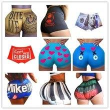 Aa nova mulher shorts carta impressão shorts 2020 verão casual cintura alta calças curtas venda quente esportes calções diários inferior