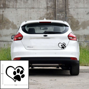 2020 New Car Glass Creative Children Bedroom Animal Cartoon Dog Cat Decal Vinyl Wall Stickers Reflective Home Decor Paw Print image