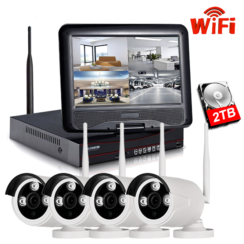 """IMPORX 4CH 960P Wireless NVR Kit 10"""" LCD Monitor Screen 1.3MP Outdoor Wifi IP Camera Security CCTV System Video Surveillance Set