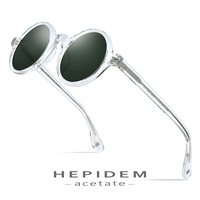 HEPIDEM Acetate Vintage Polarized Sunglasses Men Gregory Peck High Quality Clear Round Sun Glasses for Women Retro Shades ZOLMAN