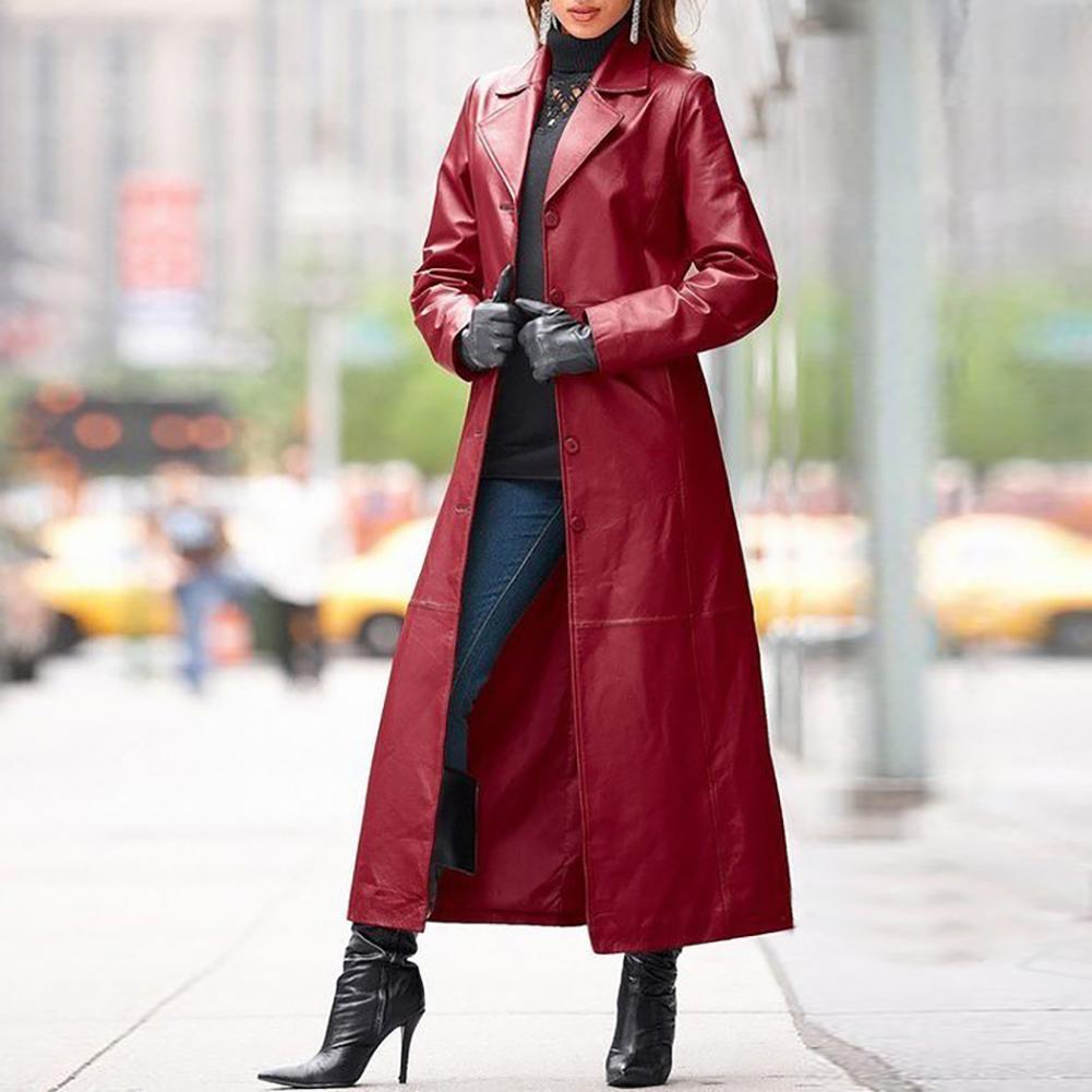 Trench płaszcz damski jesienno-zimowa jednokolorowa Faux Leather długa obcisła płaszcz chroniący od wiatru wiatrówka Plus rozmiar moda fajne płaszcze 4 kolory