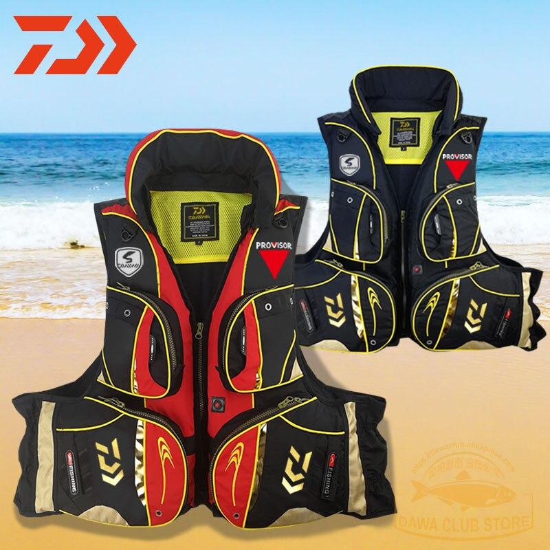 ¡Novedad de 2020! Chaleco salvavidas con luz reflectante DAIWA, chaleco salvavidas para pescar para exteriores, chaleco salvavidas con múltiples bolsillos de 120 kg - 6