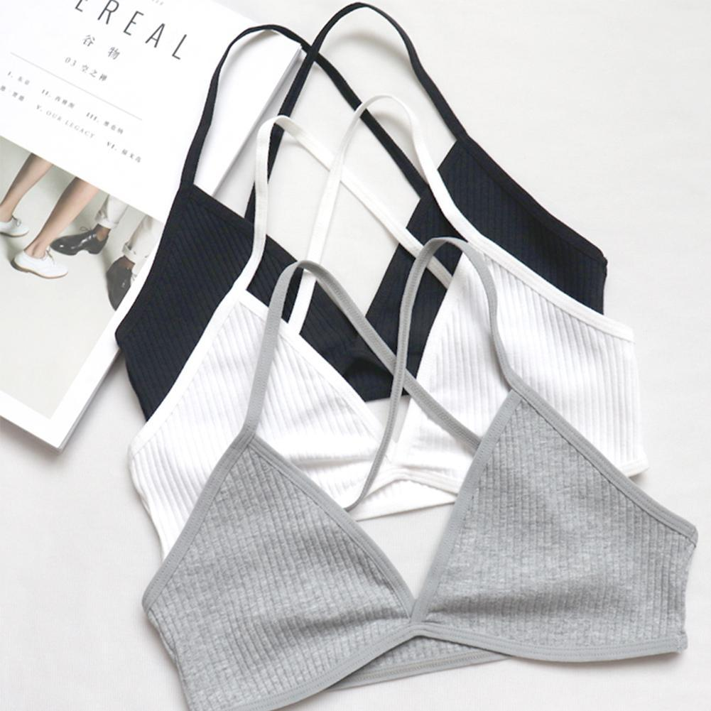 Comfortable Ultra-thin Cotton Girls Underwear Deep V Sexy No Steel Ring Hanging Neck Cross Beauty Back Bra