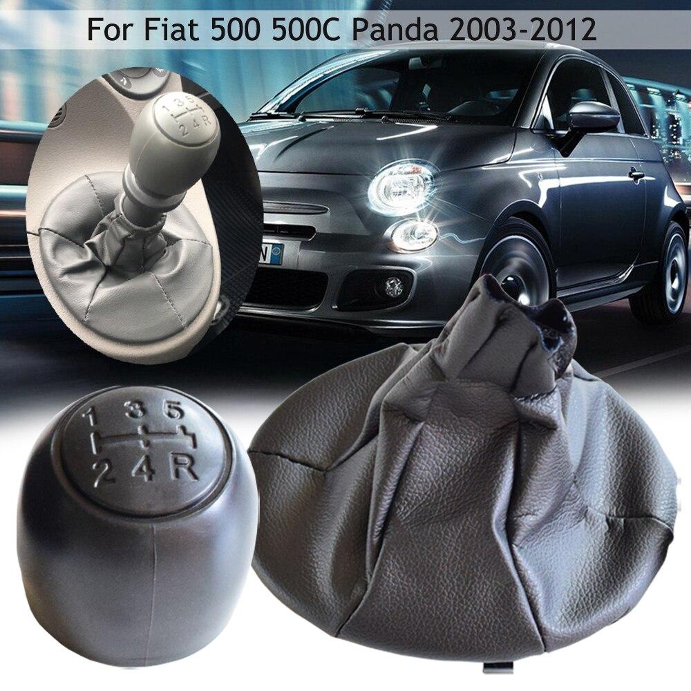5-Speed Gear Shift Lever Knob Dust Jacket Set For Fiat 500 500C Panda 2003-2012 Gear Shifter Set