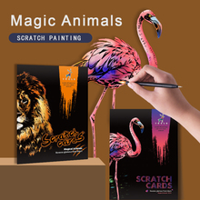 4pcs Scratch Magic Animals Pictures A4 size Kids Scraping Painting Scratch Tiger Animals Paper Painting Toy Art Gift