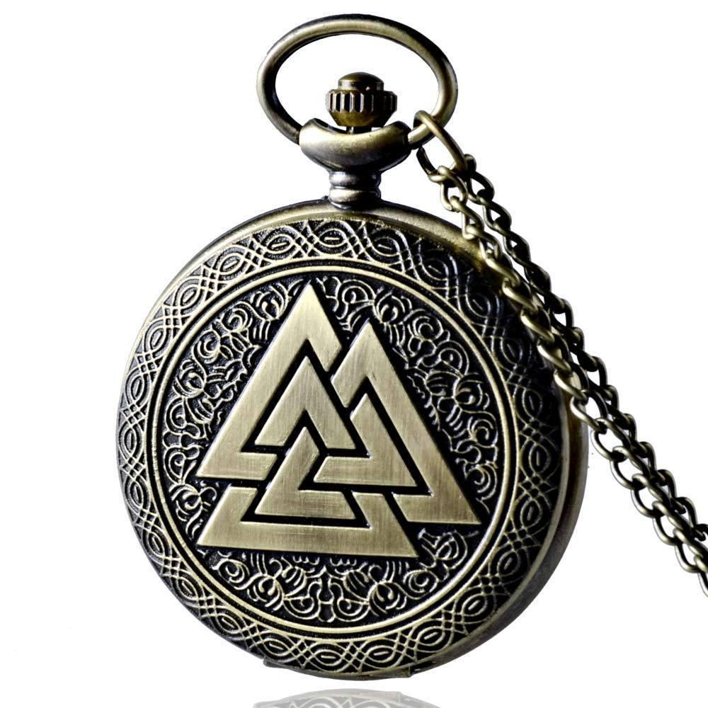 IBEINA Antique Bronze Valknut Norse Viking Triangle Quartz Pattern Pocket Watch Necklace Pendan Pocket Watch Chain Gift