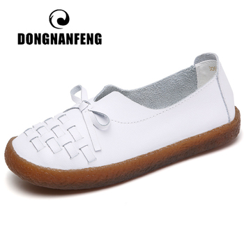 DONGNANFENG Women's Mother Ladies Female Woman Genuine Leather White Shoes Flats Slip On Loafers Soft Casual Breathable WX-S068 2020 new women s handmade shoes genuine leather flat slip on mother shoes woman loafers soft single casual flats shoes women