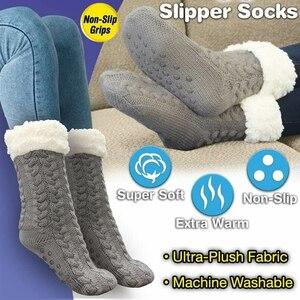 Tevê chinelo meias longas das mulheres fuzzy chinelo meias quentes malha grossa velo forrado fofo meias de inverno anticongelante antiderrapante acolchoado