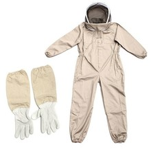 Professional Ventilated Full Body Beekeeping Bee Keeping Suit with Leather Gloves(China)