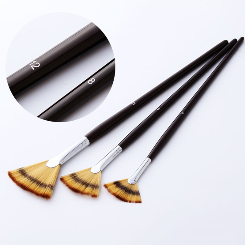 3Pcs Fan Shaped Watercolor Paint Brush Set Mixed Hair Copper Tube Gouache Brushes For School Drawing Painting Brush Art Supplies