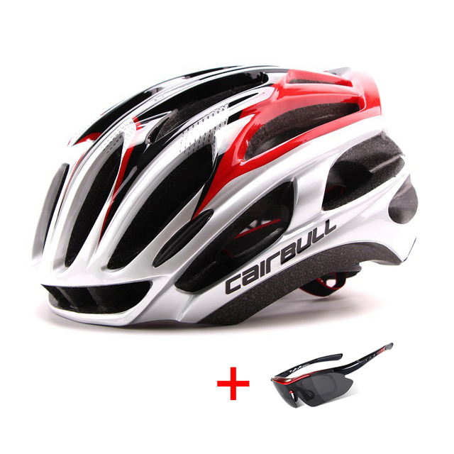 Ultralight racing ciclismo capacete com óculos de sol intergrally-moldado mtb capacete da bicicleta esportes ao ar livre montanha estrada capacete 1