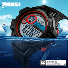SKEMI Mens Watches Outdoor Sports Watch Men Electronic LED Digital Wristwatch Alarm Clock Waterproof Military Wrist watches 1446 sports men led electronic watch outdoor life waterproof watch fashion digital wrist watches mens hot sale military wristwatch