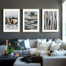 Холст с изображением золотых геометрических фрагментов, креативная полоса, абстрактная Настенная картина, кабинет, подвесные плакаты, дома...