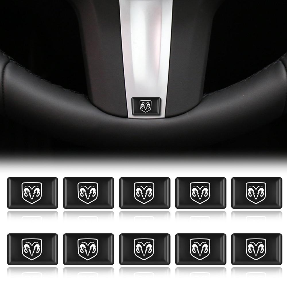10pcs Steering Wheel 3D Car Sticker Flags Emblem Decal Decorating For Dodge Challenger RAM 1500 Charger Avenger Caliber Dart