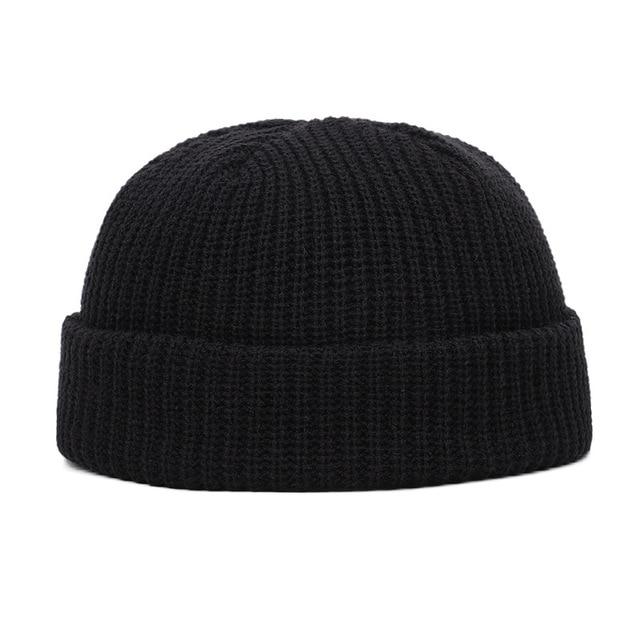 Winter Retro Knit Sailor Cap Solid Color Brimless Hats Hip Hop Beanie Skullcap Street Women Men Casual Unisex Melon Cap Bonnet
