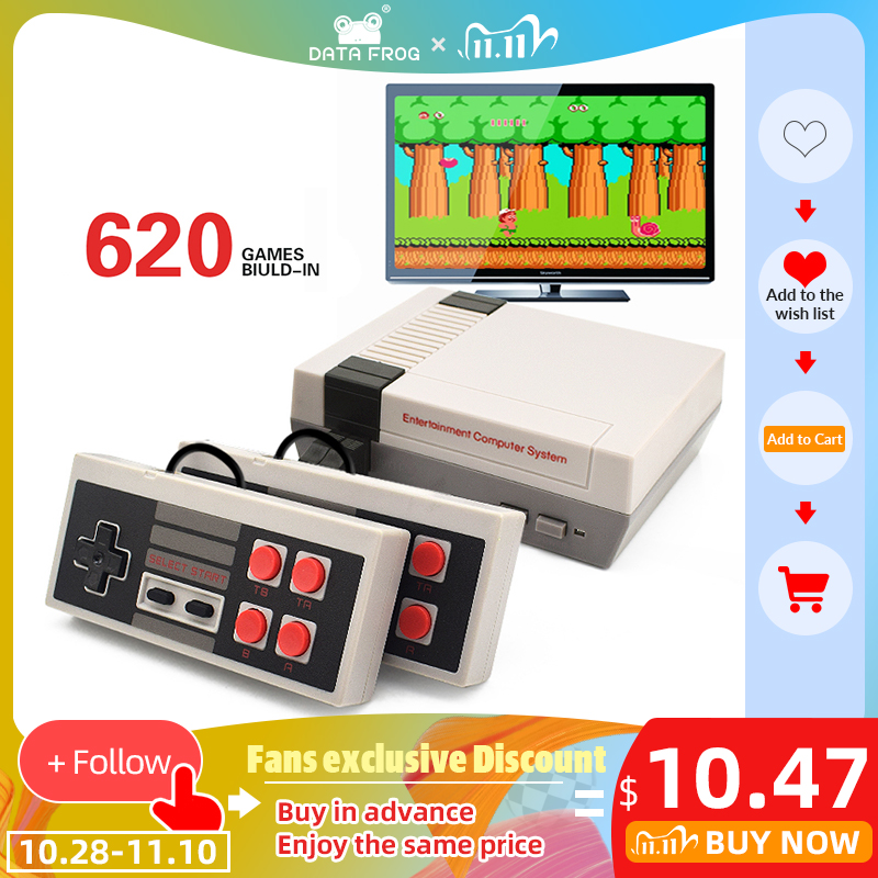 DATA FROG Mini TV Game Console 8 Bit Retro Video Game Console Built-In 620 Games with Dual Controllers Handheld Game Player