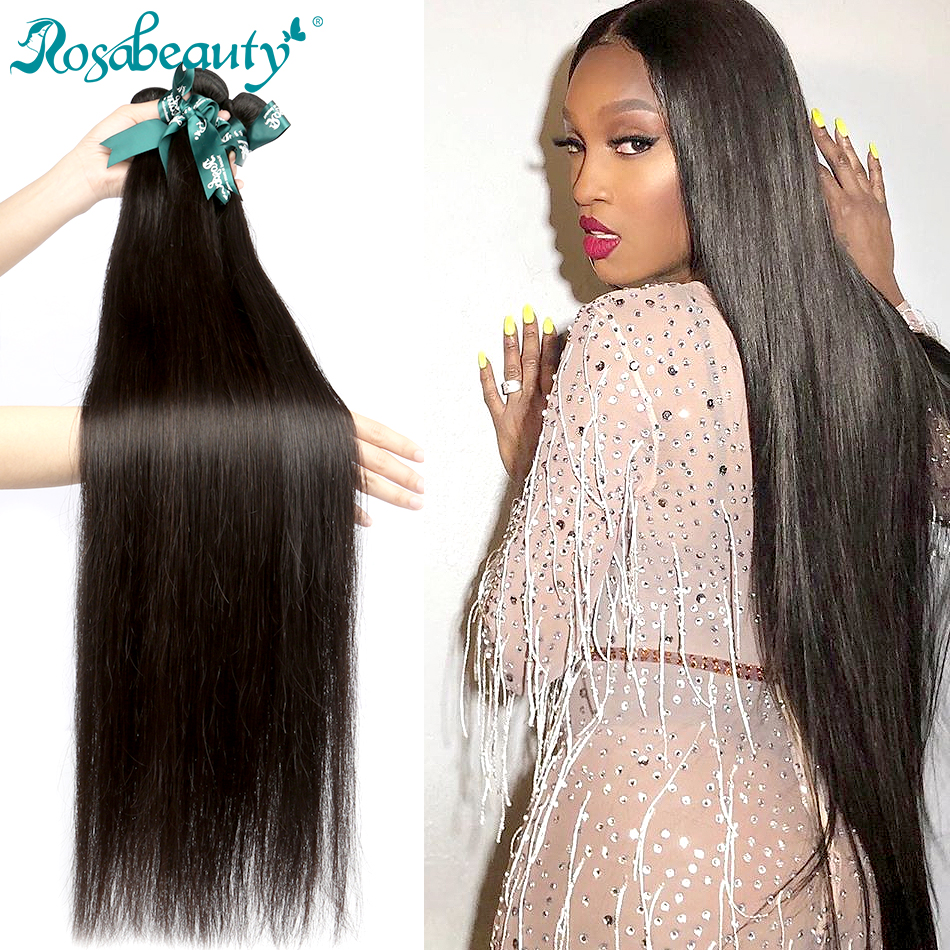 RosaBeauty 28 30 32 40 Inch Natural Color Brazilian Hair Weave 1 3 4 Bundles Straight 100% Remy Human Hair Extensions Weft